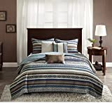 6 Piece Southwest Printed Theme Coverlet Set King/ Cal King Size, Featuring Unique Vertical Lines Stripe Pattern Comfortable Bedding, Casual Western Inspired Bedroom Decoration, Blue, Brown, Multi