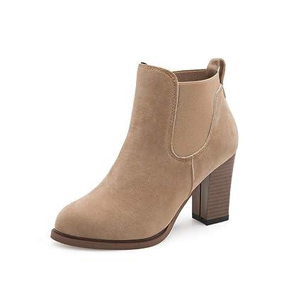 Botas Zapatos de Mujer Botas de Mujer Botas de otoño Invierno Botines de tacón Alto Cuadrados