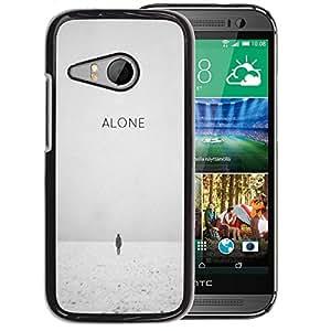A-type Arte & diseño plástico duro Fundas Cover Cubre Hard Case Cover para HTC ONE MINI 2 / M8 MINI (Alone Sad Winter Black White Depressed)