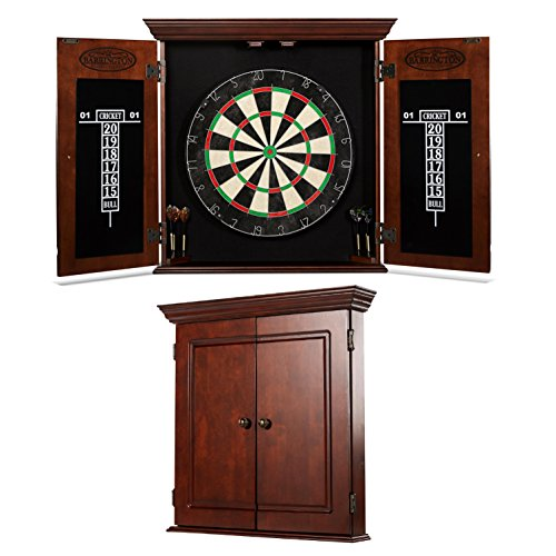 BARRINGTON Chatham Bristle Dartboard Cabinet Set: Professional Hanging Classic Sisal Dartboard with Self Healing Bristles and Accessories - 6 Steel Tip Darts