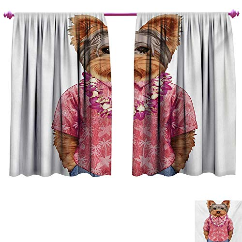 cobeDecor Yorkie Drapes for Living Room Portrait of a Dog in Humanoid Form with a Pink Shirt with Hawaian Lei Fun Image Thermal Insulating Blackout Curtain W120 x L72 Multicolor