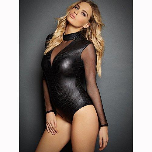 - QingDao Leather Erotic Lingerie Glazed Patent Leather Mesh Jumpsuit Pole Dance Night Dance Wild Dance (Black, XXL)