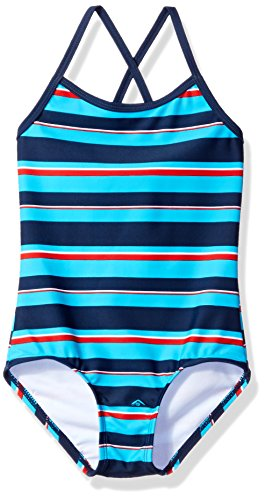 Kanu Surf Little Girls' Layla Beach Sport Banded One Piece Swimsuit, Bridget Navy/Aqua Stripe, 6X
