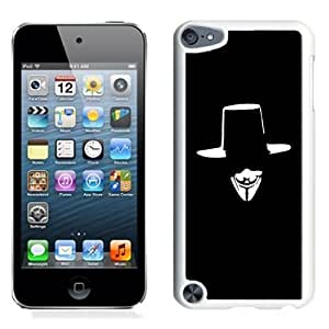 NEW Unique Custom Designed iPod Touch 5 Phone Case With V For Vendetta Hat Face Illustration_White Phone Case
