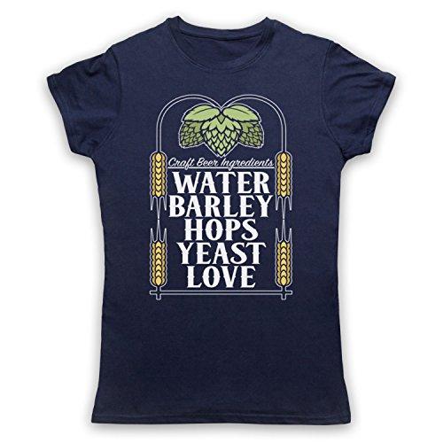 Craft Beer Ingredients Water Barley Hops Yeast Love Camiseta para Mujer Azul Marino