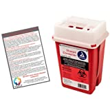 Sharps Container 1 Quart - Plus Vakly Biohazard Disposal Guide (1 Pack)