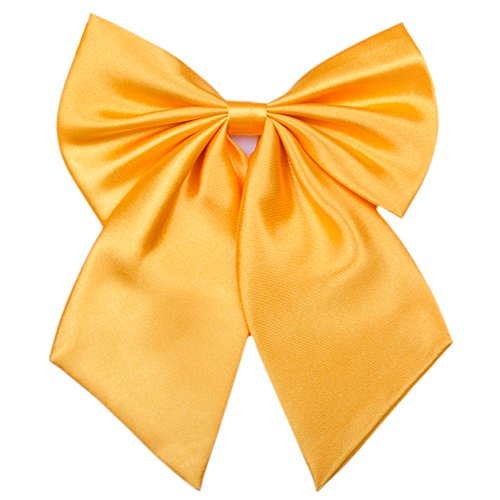 Ladies Girl Bowknot Bow Tie - Adjustable Pre-tied Solid Color Handmade Bowties for Women Costume Accessory (Gloden Yellow) -