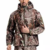 Webetop Mens Outdoor Shark Skin WaterProof Breathable Fleece Hooded Tactical Softshell Military Jacket Coat,Tree Camouflage L Size