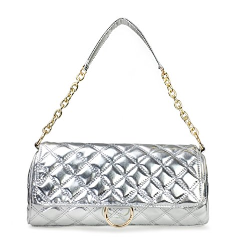 Hoxis Diamond Quilted Patent Faux Leahter Chain Shoulder Handbag Womens Satchel (Silver)