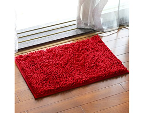 ChezMax Chenille Specific Color Non-Slip Indoor Outdoor Hello Doormat Large Small Inside Outside Front Door Mat Carpet Floor Rug Red 16