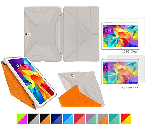 """Galaxy Tab S 10.5"""" Case, roocase Origami 3D Slim Shell Case [Space Gray/roocase Orange] Smart Cover Bundle with 4-Pack Screen Protector for Samsung Galaxy Tab S 10.5 (Supports Sleep/Wake Feature)"""