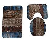 Homespun Set Of 3 Piece Design Wood Brown Blue Pattern Bathroom Set Carpet Absorbent Non-Slip Pedestal Rug + Lid Toilet Cover + Bath MatDescription : Material : Polyester fiber Size : Rectangle 50 x 80 cm,u type 40 x 50 cm, O type 40 x 50 cm Velvet f...