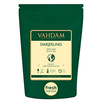 VAHDAM, 2019 First Flush Darjeeling Tea -50 Cups (3 53oz) | Loose Leaf  Black Tea - Flowery, Aromatic & Delicious | Picked, Packed & Shipped Direct