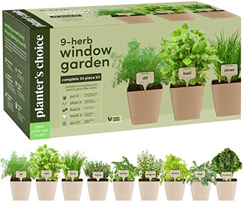 9 Herb Window Garden - Indoor Herb Growing Kit - Kitchen Windowsill Starter Kit - Easily Grow 9 Herbs Plants from Seeds with Comprehensive Guide - Unique Gardening Gifts for Women & Men