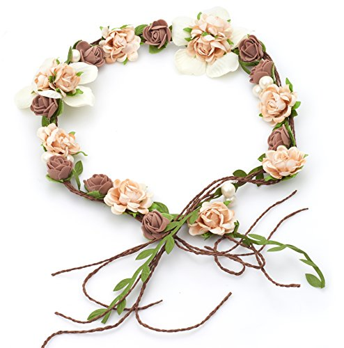 Vintage Flower Hair Vine Flower Crown Tiaras - Diy Hair Accessories For Wedding Festivals (Brown and Peach) - Vinta Festival Costumes