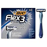 BIC Flex 3 Men's 3-Blade Disposable Razor, 10 Count