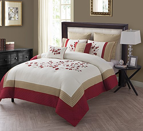 VCNY Home Cherry Blossom Polyester 7 Piece SUPER SOFT Comforter Set, Wrinkle Resistant, Hypoallergenic, King, (Blossom Comforter)