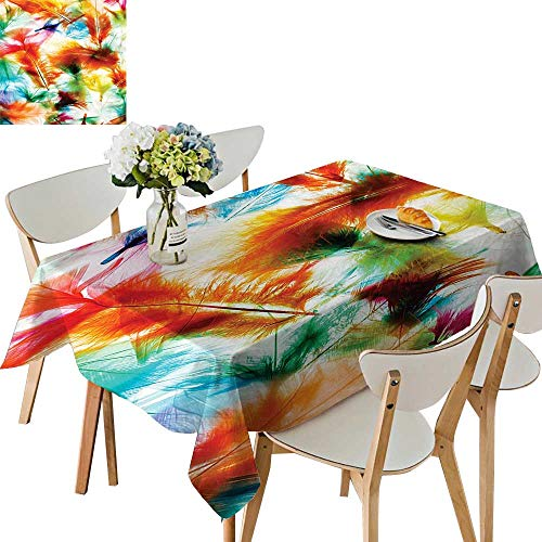 UHOO2018 Square/Rectangle Polyester Tablecloths Psychedelic Blurry Mix Feathers Pure Love and Life Wing Fuitable for Home use,50 x 72inch