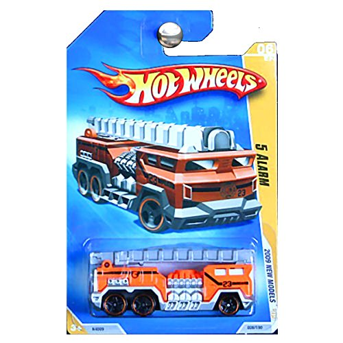 (Hot Wheels 2009 New Models 5 Alarm Fire Truck Engine in Orange with Ladder)