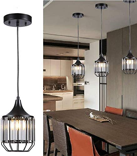 Cuaulans 1 Pack Caged Crystal Pendant Lights, Black Ceiling Hanging Crystal Pendant Lighting Fixture with Adjustable Cord