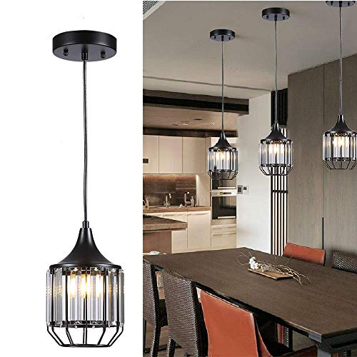 Caged Foyer - Cuaulans 1 Pack Industrial Caged Crystal Pendant Lights, Ceiling Hanging Crystal Pendant Lighting Fixture with Adjustable Cord, Black Painted