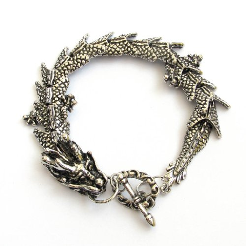 Silver tone Alloy Metal Dragon Bracelet