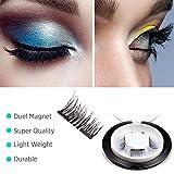 Beauty : 【Upgrade】Glamorous Magnetic False Eyelashes,1 Pair of 4 PCS 0.2mm Ultra Thin Fake Mink Eyelashes for Natural Look Reusable Best Fake Lashes/ Natural Handmade(New double magnets)