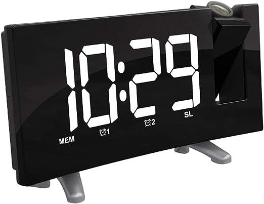 HomeDecTime Proyección LED Reloj Despertador Radio FM Reloj De ...