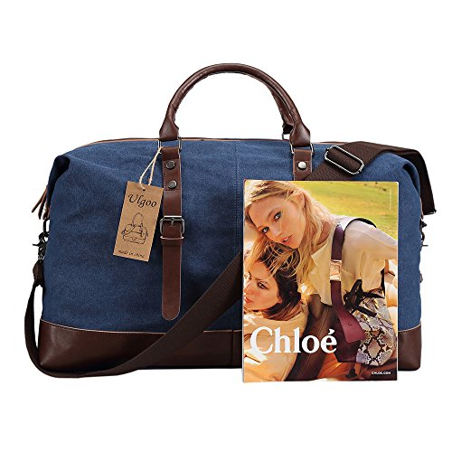 Ulgoo Travel Duffel Bag Canvas Bag PU Leather Weekend Bag Overnight (Deep Blue) by Ulgoo (Image #2)