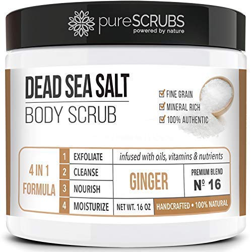 Dead Sea Salt Scrub, Exfoliating Body Scrub, Large 16oz GINGER BODY SCRUB - Infused With Organic Essential Oils & Nutrients + FREE Wooden Spoon, Loofah & Mini Organic Exfoliating Bar Soap