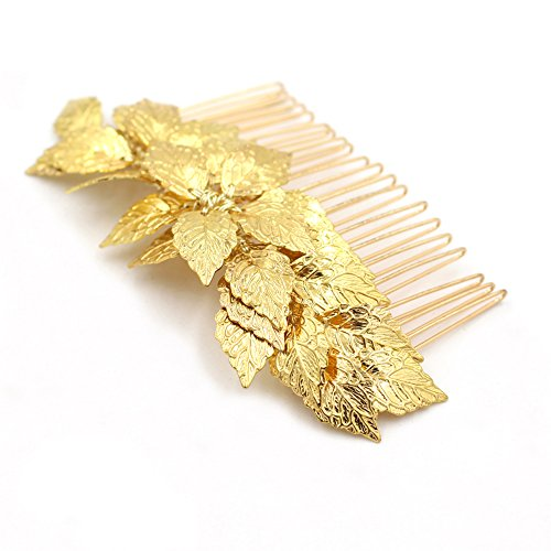 Athena Goddess Costume Ideas (Goddess Gold Leaf Tiara Comb - Bridal Wedding Hair Clip Combs Greek Headband Mum Hair Accessories)