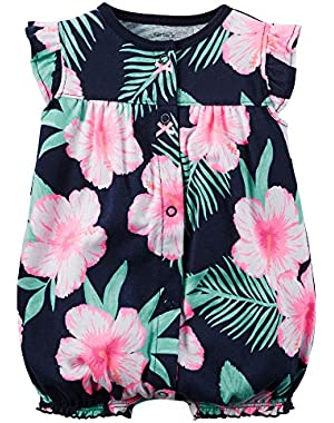 Baby Girls' Cotton 1-piece Snap-Up Romper (Navy Floral)