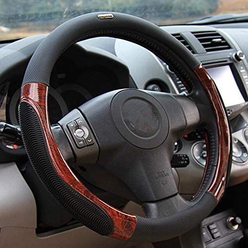 GUVDYJ Steering Cover 38cm Summer Anti Slip Car Steering Wheel Cover Breathable Imitation Peach Wood Auto Steering Cover Styling Case,Black from GUVDYJ