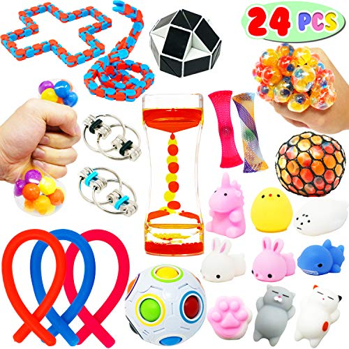 24 PCs Sensory Fidget Stress Relief Calming Toys Liquid Motion Timer; Grape Ball; Squeeze DNA Ball; Flippy Chain; Mesh Marble; Mochi Squishy for Kids and Adults for ADHD Autism Anxiety Therapy Toys