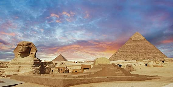 AOFOTO 10x10ft Egyptian Pyramids Photography Studio Backdrops Mysterious Egypt Sphinx Photo Shoot Background Outdoor Travel Scene History Culture Video Props Boy Girl Kid Child Adult Artistic Portrait