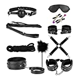 Bondage Kit, 10 Piece Set Love Cuffs, Black