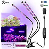 Grow Light, Grow Lights for Indoor Plants, 27W 54 LED Bulbs Timming Plant Grow Lamp with Red, Blue Spectrum, 3/6/12H Timer, 3-Head Divide Control Adjustable Gooseneck