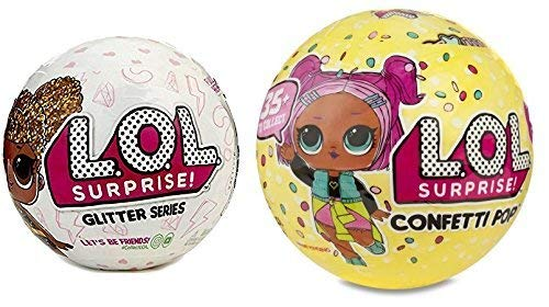 L.O.L. Surprise set of 2, Includes 1 LOL Glitter Series ball and 1 LOL Confetti Popseries 3 ball