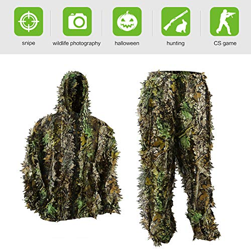 Pellor Kids Ghillie Suits, 3D Leafy Ghille Suit for Youth Boys, Kid Hooded Hunting Airsoft Camouflage Gillies Suits (Up&Down Suit, Fit Tall 4.9-5.9ft) -