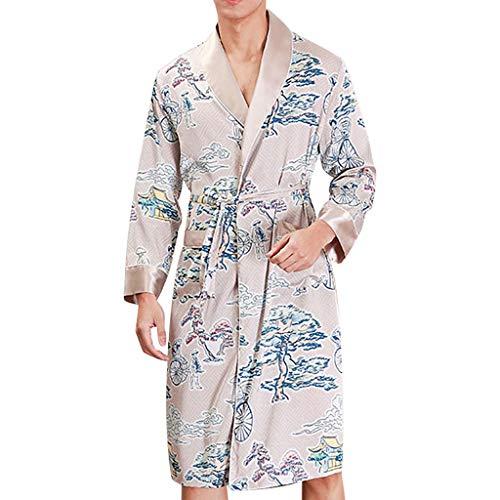 - Men Simulation Silk Print Pajamas Turn Down Collar Robe Bathrobe with Belt Dressing Gown Beige