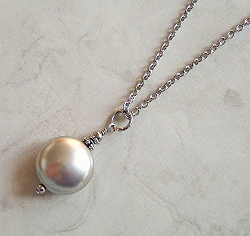 Light Grey Coin Simulated Pearl 24 Inch Stainless Steel Necklace Gift Idea