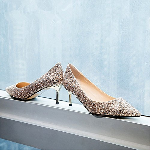 HXVU56546 El Nuevo Presidente Solo Zapatos Primavera Y Otoño Fine Crystal Zapatos Con Tacones Altos Rose Gold