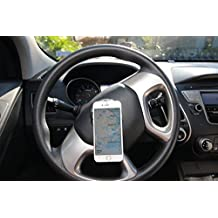 Go-Vuu Steering Wheel Cell Phone Holder For Car, Truck, SUV, & More - Great For Videochats - The Best Cell Phone Mount For Your Car - Works With All Phones