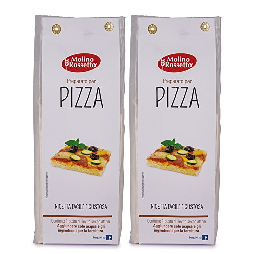 Molino Rossetto Italian Pizza Dough Mix for Gourmet Homemade Pizza Crust 17.6oz (500g) - Pack of 2