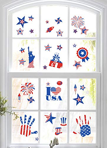 jollylife 4th/Fourth of July Window Clings Decorations - Patriotic Red White Blue Party Supplies Decor 140+ -