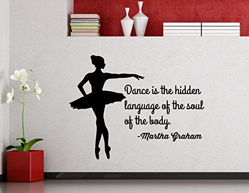 Martha Graham Quote Dancing Wall Decal Dance is The Hidden Language of The Soul Decor Vinyl Sticker Lettering Gift Room Art Stencil Decor Mural Removable Poster 133ct ()