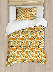 Pumpkin Twin Size Duvet Cover Set by Lunarable, Hand Drawn Festive Ornaments of Halloween Fern and Pumpkin Scissors Silhouettes, Decorative 2 Piece Bedding Set with 1 Pillow Sham, Multicolor