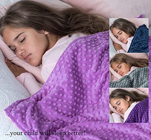 Cheap 5 lbs Weighted Blanket with Dot Minky Cover for Kids (Inner Light Violet/Cover Violet & Pink 36