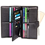 COVOVA Women RFID Blocking Wallet Men Trifold Large Clutch Zip Card Holder Organizer