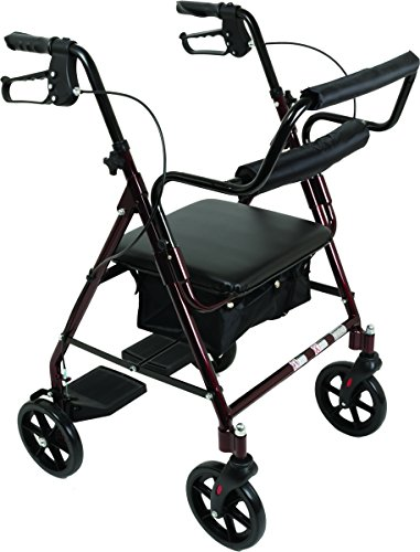 Transport Rollator with Padded Seat, Fold Up Seat, 8 Inch Wheels, Weight Capacity: 250 Pounds (Burgundy)
